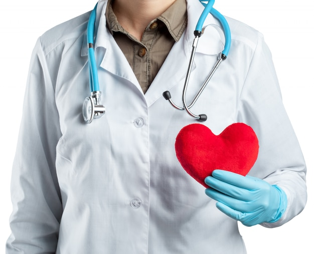 Vrouwelijke cardioloog in eenvormig holdings rood die hart op wit wordt geïsoleerd