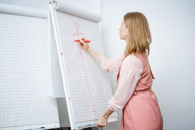 Vrouwelijke docent modeontwerper tekent een layout,