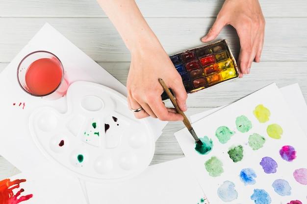 Vrouwelijke hand die abstracte cirkel op witboek met waterkleur schildert