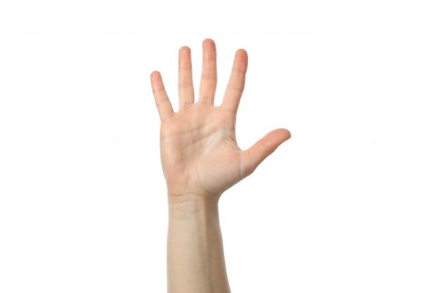 Vrouwelijke hand die op witte achtergrond wordt geïsoleerd. gebaren
