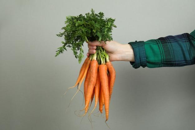 Vrouwelijke hand houdt verse wortel op lichtgrijs oppervlak