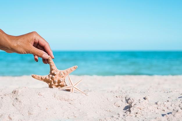 Vrouwelijke hand houdt zeester op een zandstrand. vakantieconcept.