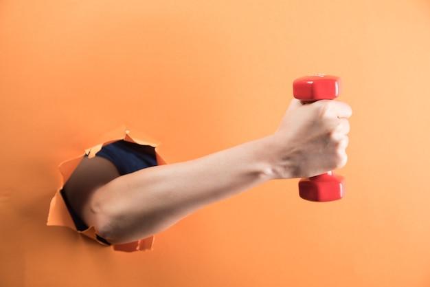 Vrouwelijke hand met een halter op een oranje achtergrond