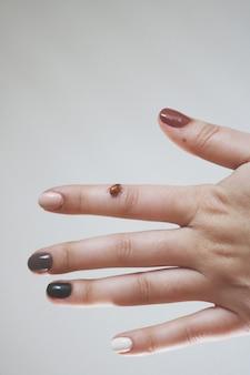 Vrouwelijke hand met een lieveheersbeestje