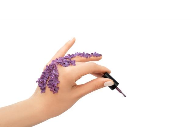 Vrouwelijke hand met paarse nagellak fles. lente concept.