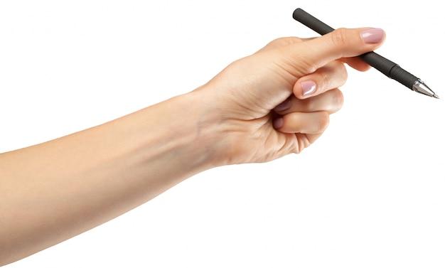 Vrouwelijke hand op een wit met een pen