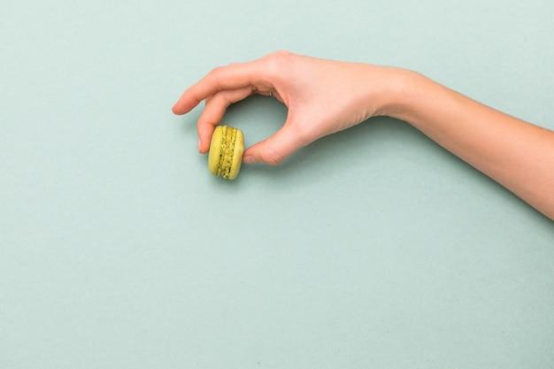 Vrouwelijke handen die groene makaroncake houden. bovenaanzicht, platliggend. copyspace