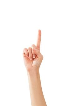 Vrouwelijke handen die nummer één tellen