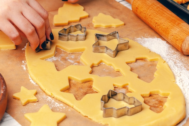 Vrouwelijke handen maken van koekjes van vers deeg thuis
