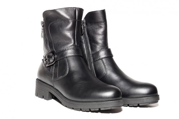 Vrouwelijke herfst lederen laarzen