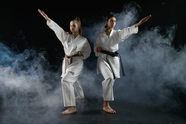 Vrouwelijke karateka's in witte kimono, gevechtshouding in actie. karatevechters op training, vechtsporten, vrouwen die vechten