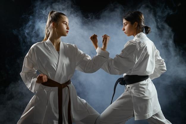 Vrouwelijke karatevechters, gevechtshouding. karatekas over training, vechtsporten, vrouwen die vechten tegen competitie