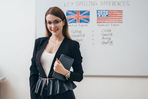 Vrouwelijke leraar poseren engelse taalschool.