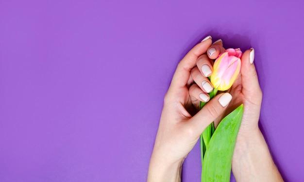 Vrouwelijke manicure op een lichte achtergrond