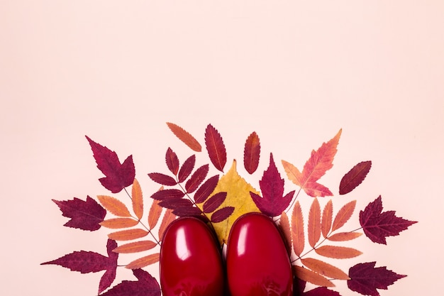 Vrouwelijke mode herfst rubberen laarzen en droge bladeren op pastelkleurige achtergrond.