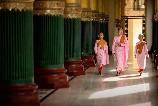 Vrouwelijke of beginnende monnik bij shwedagon temple in birma.