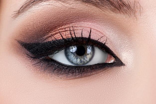 Vrouwelijke oog macro schoonheid, zwarte wimpers en wenkbrauwen, make-up
