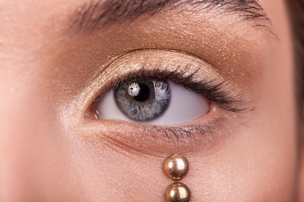 Vrouwelijke oog macro schoonheid, zwarte wimpers en wenkbrauwen