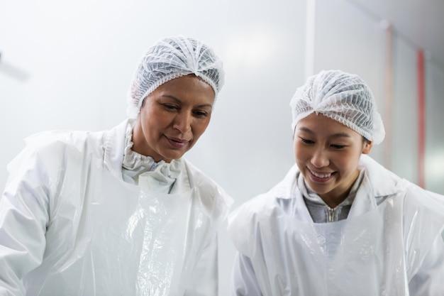 Vrouwelijke slager die bij vleesfabriek werkt