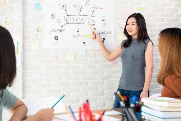 Vrouwelijke student die een presentatie in klaslokaal maakt