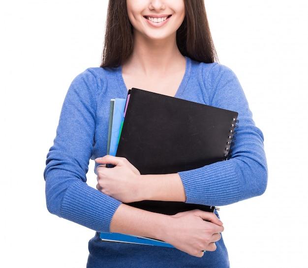Vrouwelijke student geïsoleerd