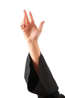 Vrouwelijke student hand, geïsoleerd op wit