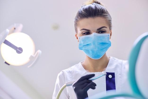 Vrouwelijke tandarts die tanden behandelt aan patiënt, close-upgezicht van arts in masker met helende hulpmiddelen, exemplaarruimte
