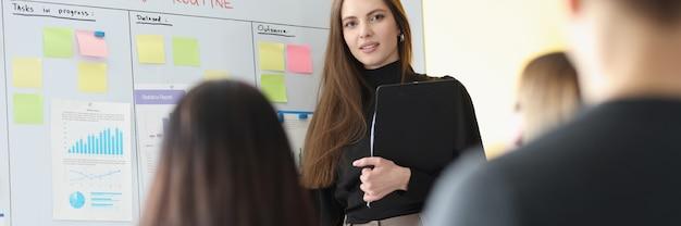 Vrouwelijke trainer groepsleider leidt trainingsseminar
