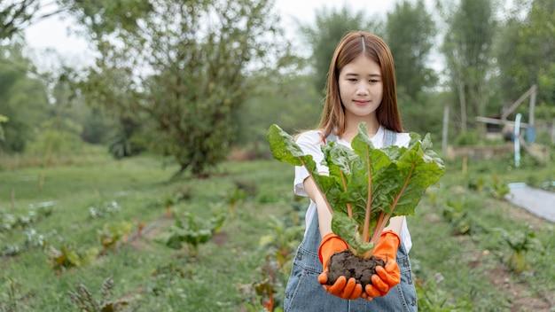 Vrouwelijke tuinman concept een vrouwelijke tiener tuinman ontwortelen de grote groente met de grond in het oogstseizoen in de moestuin.