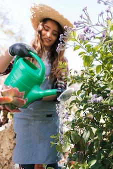 Vrouwelijke tuinman die de lavendel bloeiende installatie in de tuin water geeft