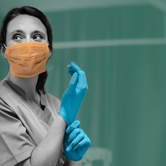 Vrouwelijke verpleegster en medische held die hard werkt tijdens de pandemie van het coronavirus
