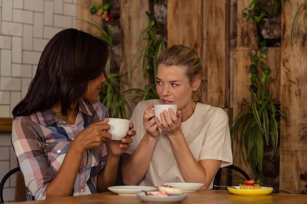 Vrouwelijke vrienden die met elkaar interactie aangaan terwijl het hebben van koffie