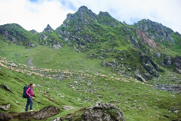 Vrouwelijke wandelaar in de bergen van roemenië