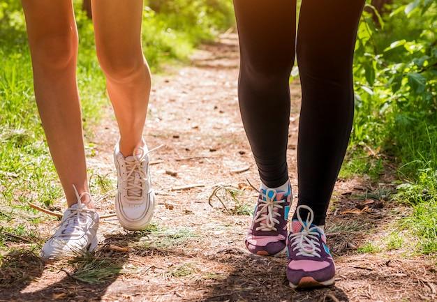 Vrouwen die in het bos lopen