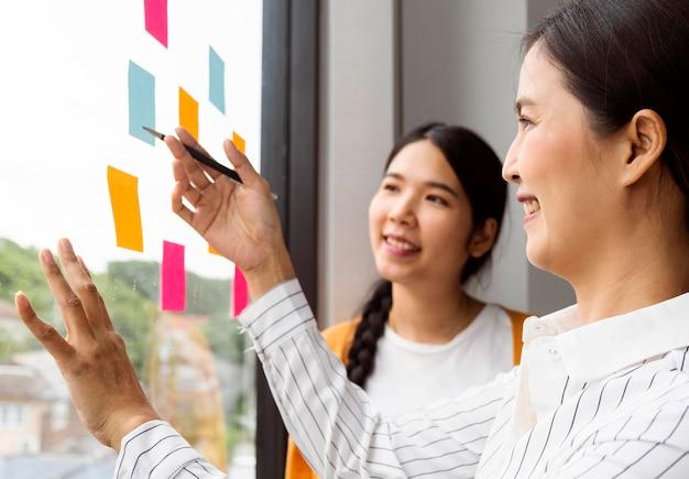 Vrouwen die nadenken over nieuwe ideeën voor een werkproject