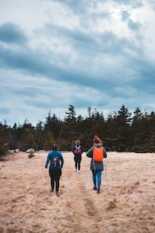 Vrouwen die zich op bruin gebied bevinden dat door groene bomen onder witte wolken en blauwe hemel wordt omringd