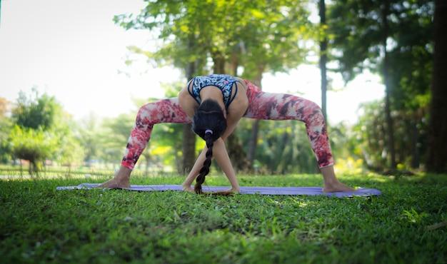 Vrouwen doen yoga in het park