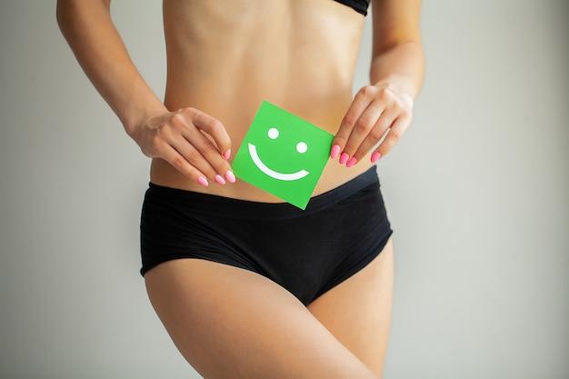 Vrouwen gezondheid. close-up van gezond wijfje met mooi geschikt slank lichaam in witte damesslipjes die witte kaart met gelukkig smileygezicht in handen houden. maaggezondheid en goede spijsvertering s
