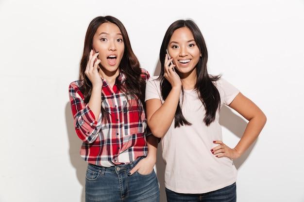 Vrouwen zussen praten door hun mobiele telefoons