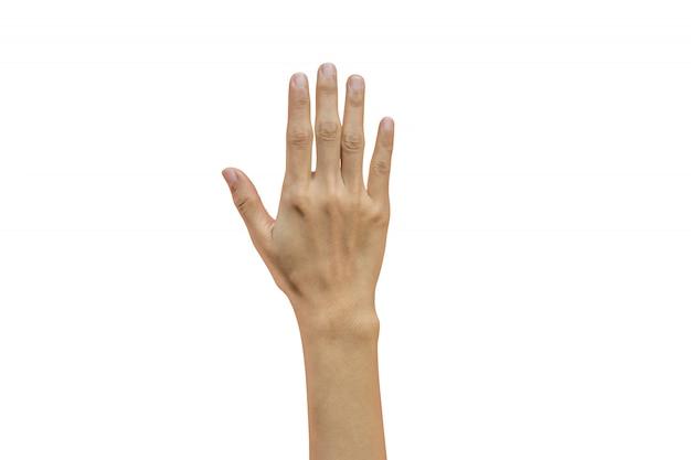 Vrouwenhand die vijf vingers toont