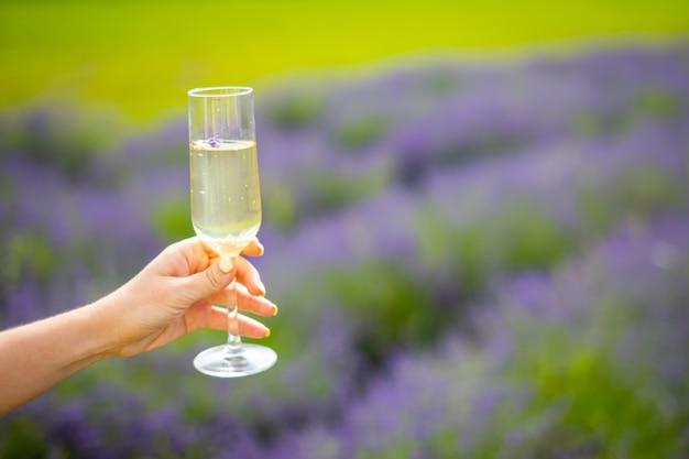 Vrouwenhand met champagneglas op een achtergrond van lavendelgebieden in tsjechië?
