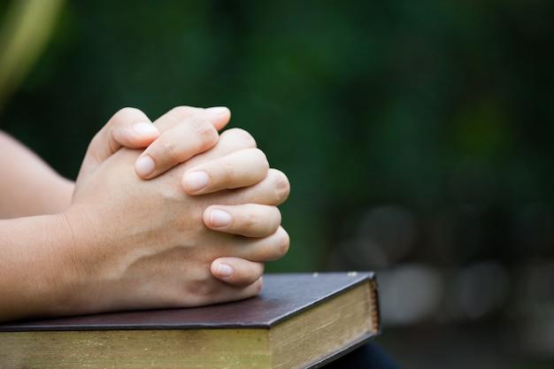 Vrouwenhanden in gebed op een heilige bijbel voor geloofconcept worden gevouwen op aard groene achtergrond die