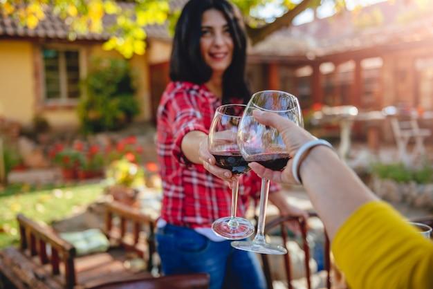 Vrouwenvrienden die rode wijn roosteren