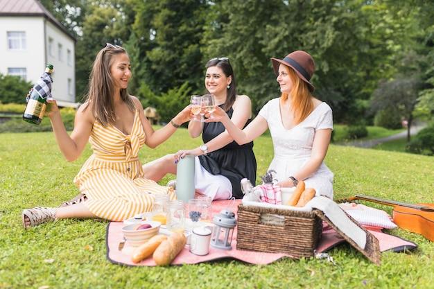 Vrouwenzitting op groene gras roosterende wijnglazen bij picknick