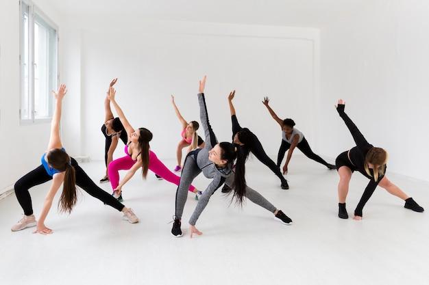 Vrouwtjes in fitnessles aan het trainen