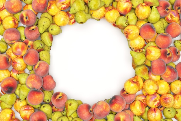 Vruchten die op zwarte achtergrond worden geïsoleerd. hoge kwaliteit 3d-weergave