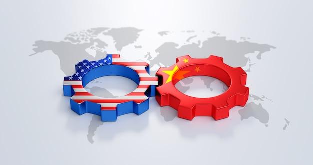 Vs en china globale versnelling van het bedrijfsconcept van de wereldkaart op de achtergrond van de wereldfinanciën met internationale technologie of industriële leidersmetafoor. 3d-weergave.