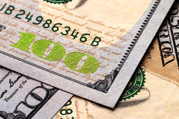 Vs honderd dollar rekeningen geld achtergrond