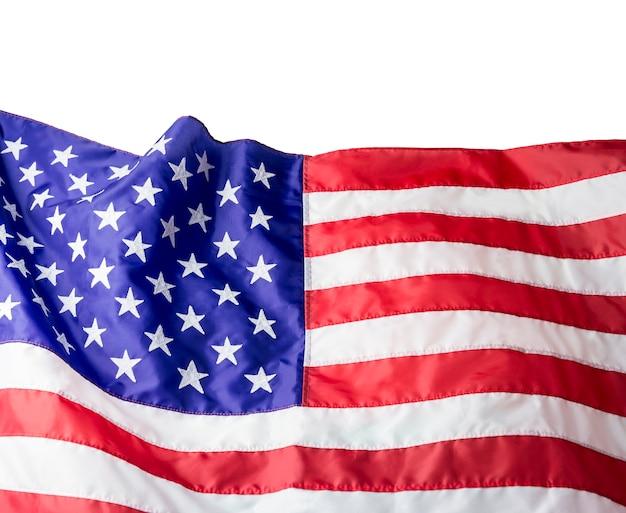 Vs of amerikaanse vlag geïsoleerd op een witte achtergrond met uitknippad