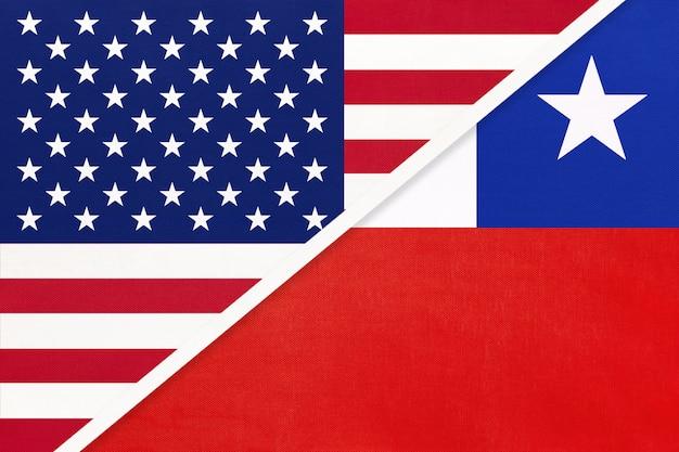 Vs versus chili nationale vlag. relatie tussen twee landen.